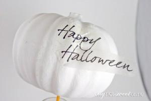 Beautiful Halloween Pumpkin Craft! Make this bespoke jeweled pumpkin with just a few supplies. | saynotsweetanne.com