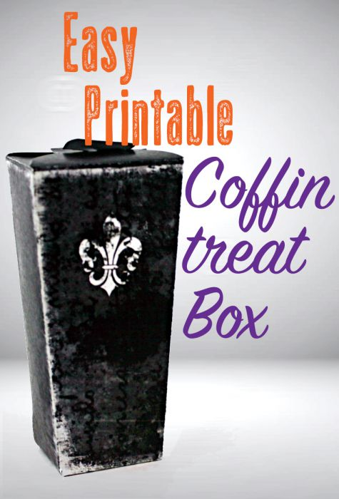 Printable Coffin Treat Boxes at saynotsweetanne.com | Print, cut and assemble your own treat boxes. Two variations!