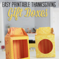 Easy and printable Thanksgiving or fall themed treat boxes! Print them on cardstock and cut on provided lines. | saynotsweetanne.com | #thanksgiving, #treat, #tutorial, #download
