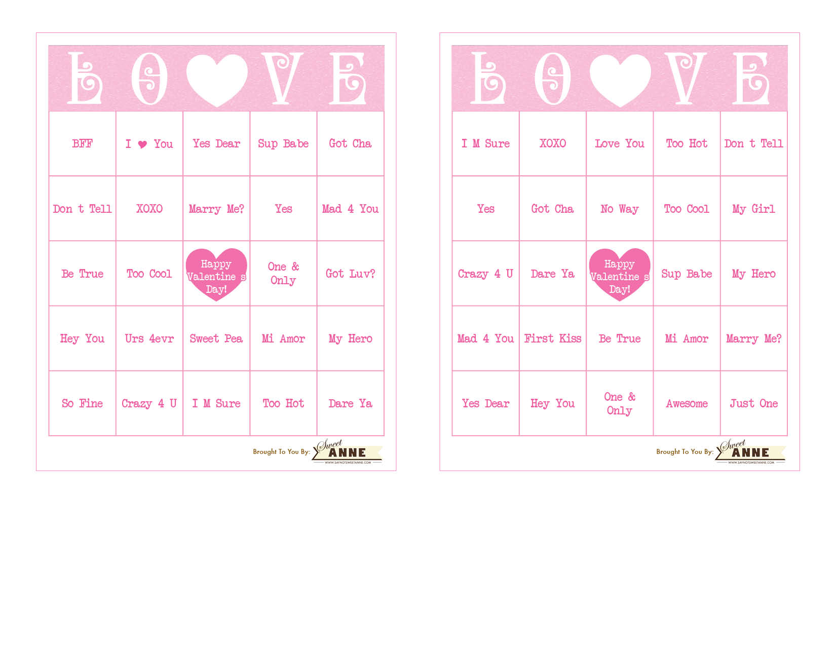 Conversation Heart BINGO Free Valentine Bingo Printable – Free Printable Valentines Day Bingo Cards