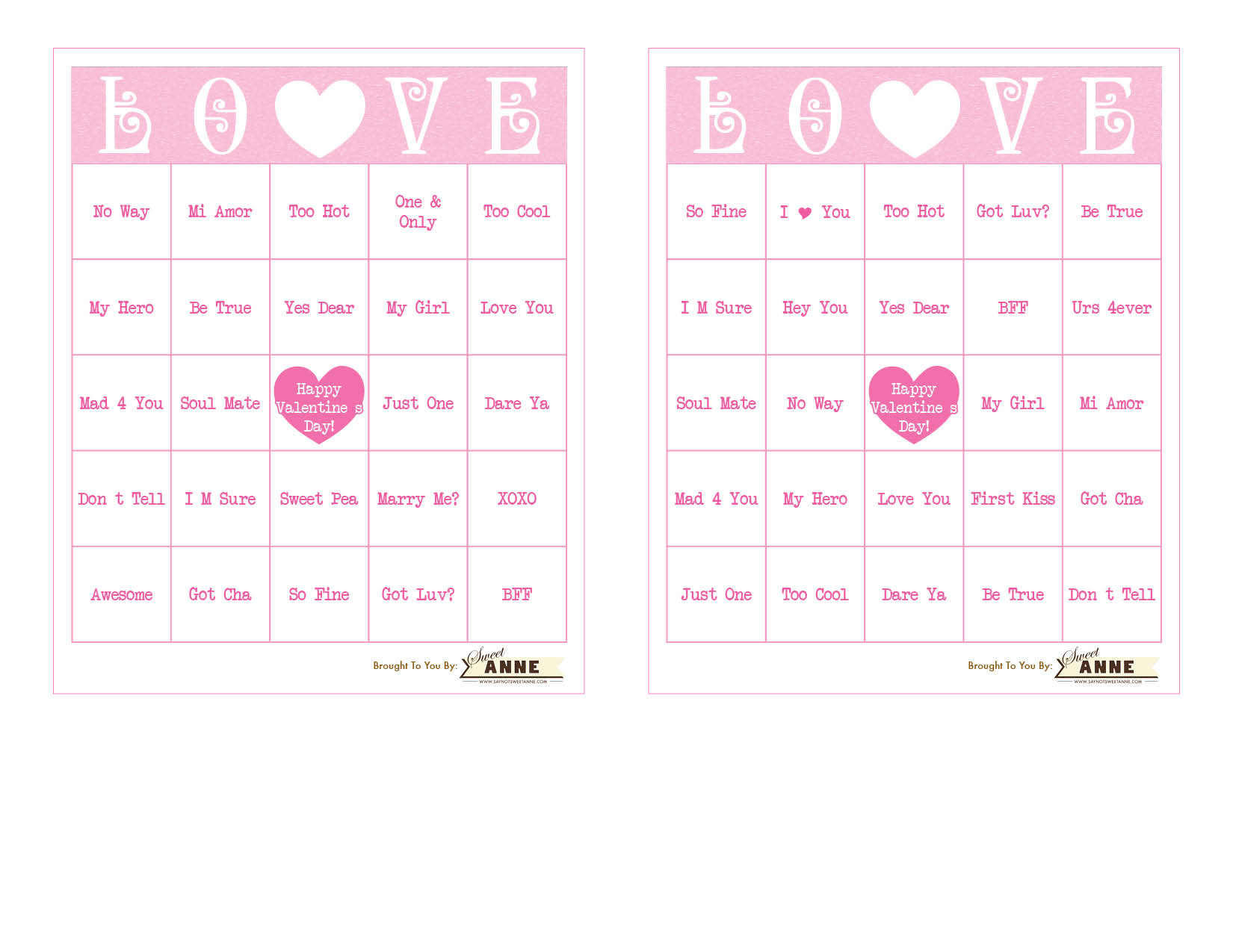 Download Conversation Hearts Bingo Sweet Anne Designs