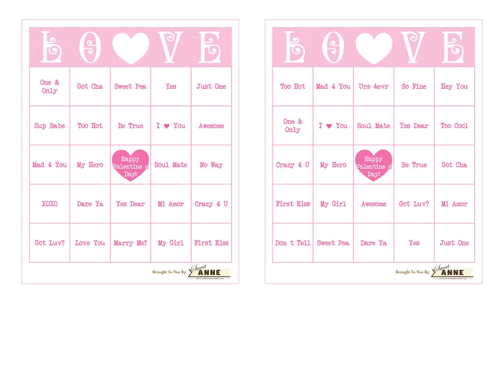 Conversation Heart BINGO Free Valentine Bingo Printable – Printable Valentines Day Bingo Cards