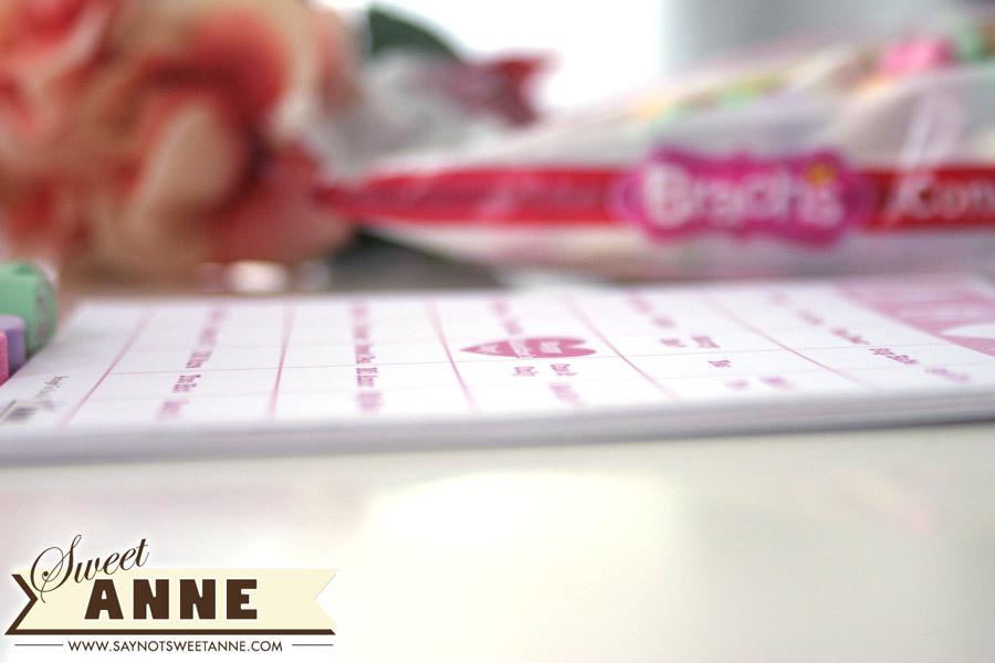 Printable Free LOVE Bingo - Use a bag of conversation hearts and this printable, enough cards for 10 people! | Saynotsweetanne.com | #valentine #game #classroom #bingo #printable