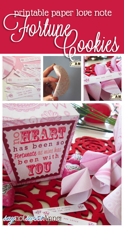 Adorable Printable Fortune Cookies & Box | saynotsweetanne.com | #valentine #love #printable