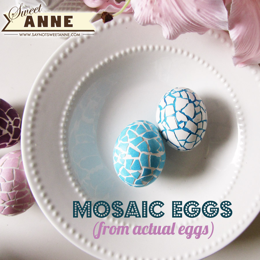 Mosaic Easter Eggs - made from dying two eggs and combining their shells! | saynotsweetanne.com