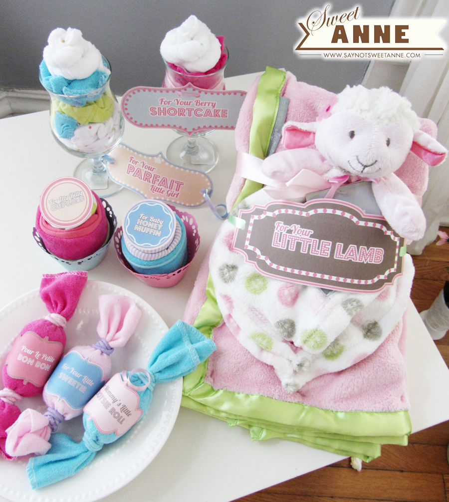 baby gifts from onsies and washcloths parfaits cupcakes candies