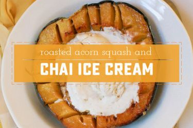 Easy and amazing fall themed dessert - roasted acorn squash tastes a lot like pumpkin, and the no-machine chai flavored ice cream is the perfect compliment! | saynotsweetanne.com