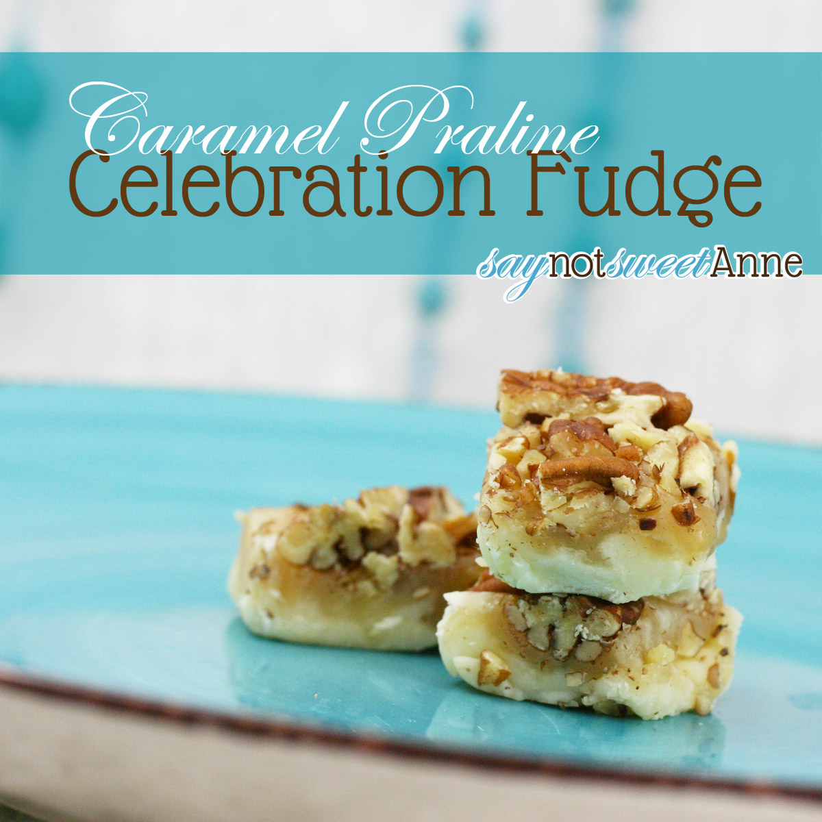 Caramel Praline Celebration Fudge at SayNotSweetAnne.com