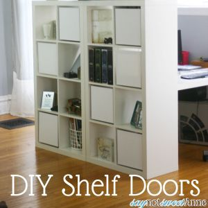 """Add Canvas """"doors"""" to Square shelving by Saynotsweetanne.com"""