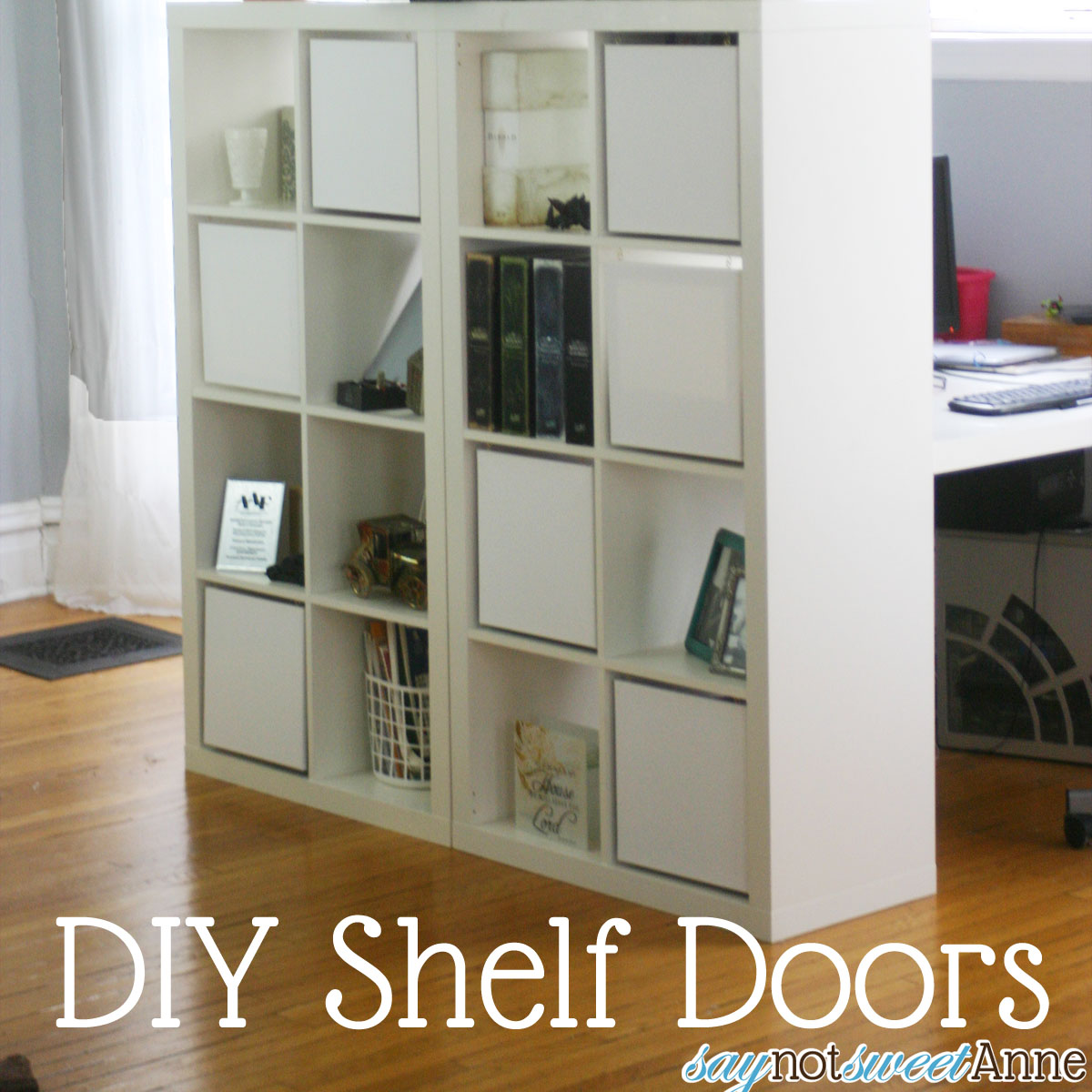 "Add Canvas ""doors"" to Square shelving by Saynotsweetanne.com"