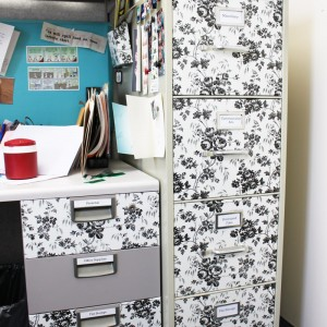 Use dollar bin shelf liner to spruce up your corporate office space! More tips, recipes, crafts and more at SayNotSweetAnne.com