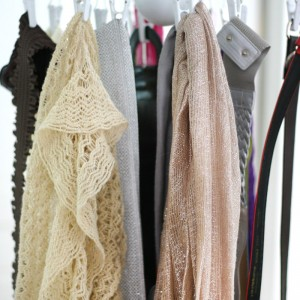 Use an Ikea drying rack as scarf and belt storage. More tips, crafts, recipes and more at SayNotSweetAnne.com