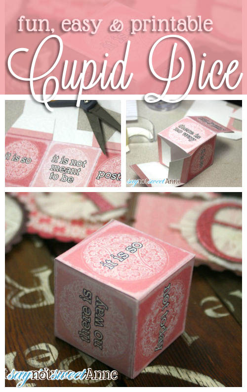 Printable Paper Cupid Dice | Saynotsweetanne.com | #valentine #love #party #game #printable