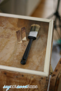 Almost Instant Weathered Wood finish. Goes on clear, makes wood look old! (Its like vanishing ink!)