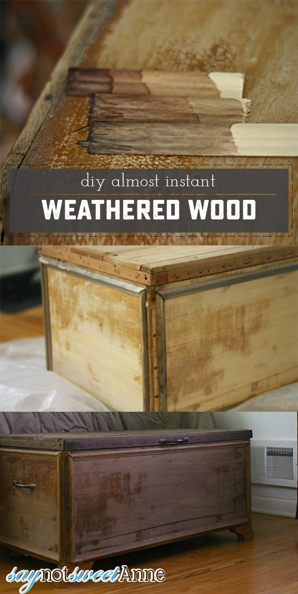 Almost Instant Weathered Wood finish. Goes on clear, makes wood look old! (Its like vanishing ink!)   saynotsweetanne.com