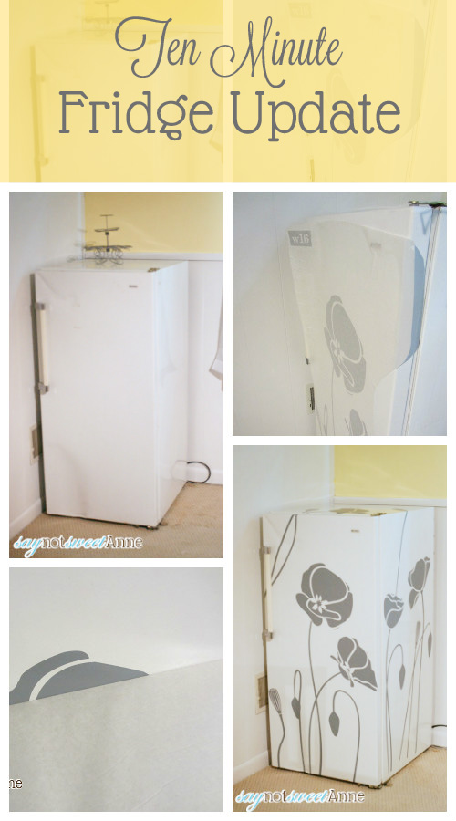 Easy Ugly Freezer Update! Use vinyl decals to beautify an ugly appliance! | Saynotsweetanne.com | #reviews #vinyl #decor #makeover