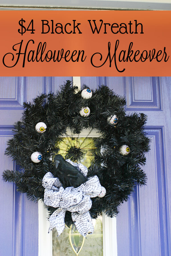 Cheap Black Wreath Makeover | Saynotsweetanne.com | #halloween #decoration