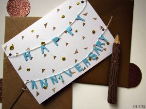 happy anniversary garland card