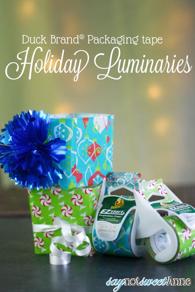 DIY Packaging Tape Luminaries | saynotsweetanne.com | #EZStart #Holiday #DIY
