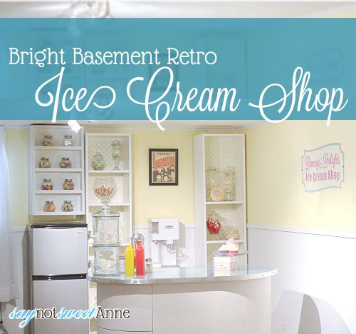 "Bright Basement Ice Cream ""Shop"" - great kid friendly alternative to a bar! 