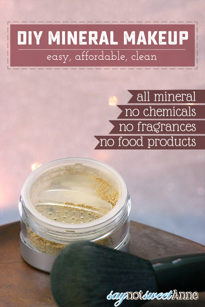 DIY All Mineral Makeup! Using high quality minerals, no fillers, no food products and no perfumes. Make your perfect shade, and then make more when you run out! | saynotsweetanne.com | #recipe #diy #makeup #minerals #beauty