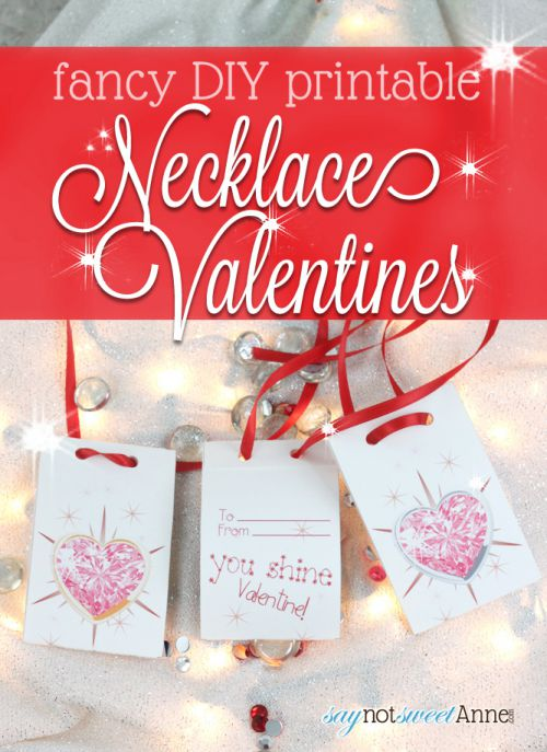 Easy DIY Jeweled Necklace Valentines! Perfect for last minute, with space for any kind of candy! | saynotsweetanne.com | #valentine #cute #DIY #necklace #princess