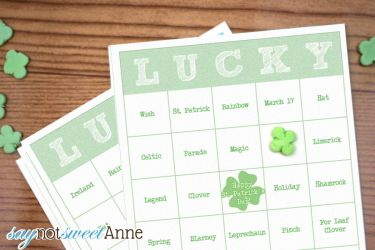 Printable St. Patrick's day Bingo! Perfect for classrooms, car rides or just for family fun! | saynotsweetanne.com | #printable #game #DIY #stpatricksday