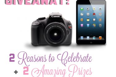 Two amazing prizes, a Canon EOS Rebel T3 and an iPad Mini. | Saynotsweetanne.com
