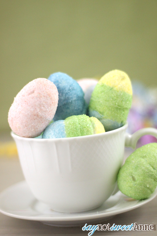 DIY Sugar decoratioed Marshmallow Eggs - Perfect alternative to dying eggs for small children - and delicious!! | Saynotsweetanne.com | #easter #eggs #marshmallow #diy