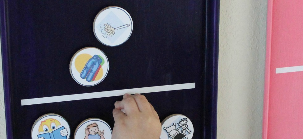 Magnetic Chore Chart by Thrifty Crafty Girl via SayNotSweetAnne.com
