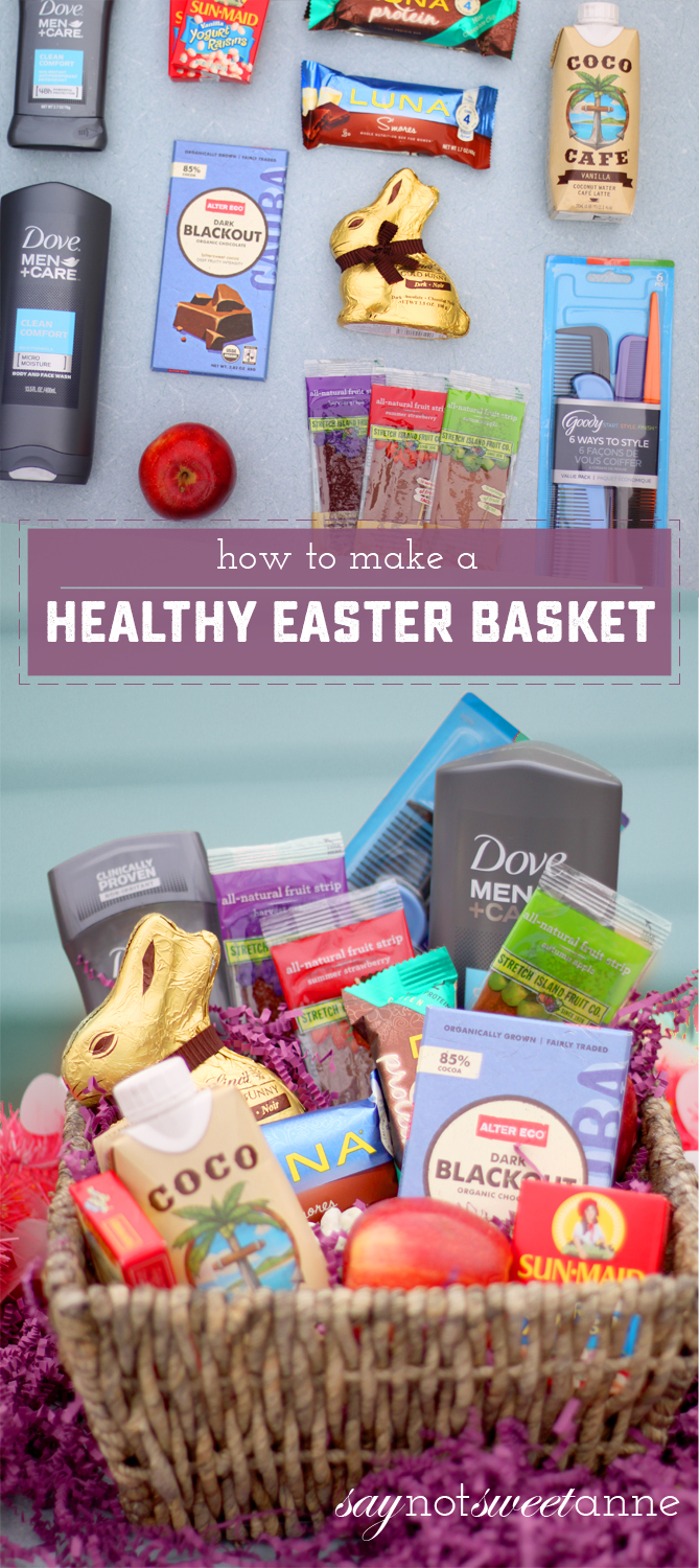 Hot to build a Healthy Easter Basket. Great ideas that you can adjust as needed! | saynotsweetanne.com