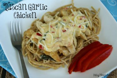 Copy-Cat Tuscan Garlic Chicken / By BusyMomsHelper via SayNotSweetAnne.com / #OliveGarden #Pasta #Chicken #SimpleDinner