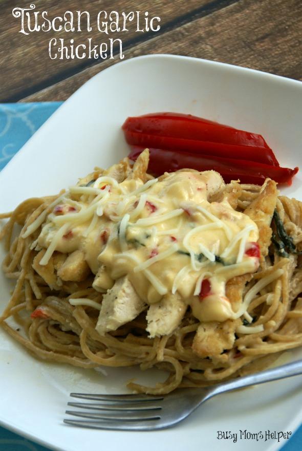 Copy-Cat Tuscan Garlic Chicken / By BusyMomsHelper via SayNotSweetAnne.com / #OliveGarden #Pasta #Chicken #SimpleDinner