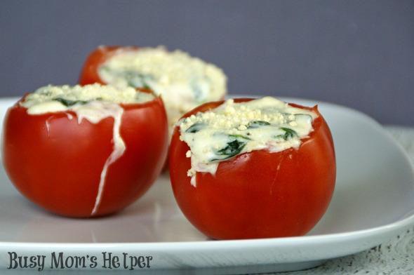 Cheesy Spinach Stuffed Tomatoes / By BusyMomsHelper via SayNotSweetAnne.com / #tomatoes #recipe #cheese