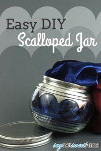 Easy DIY Scalloped Mirror Jar | Saynotsweetanne.com | #dit #ShapeTape #decor