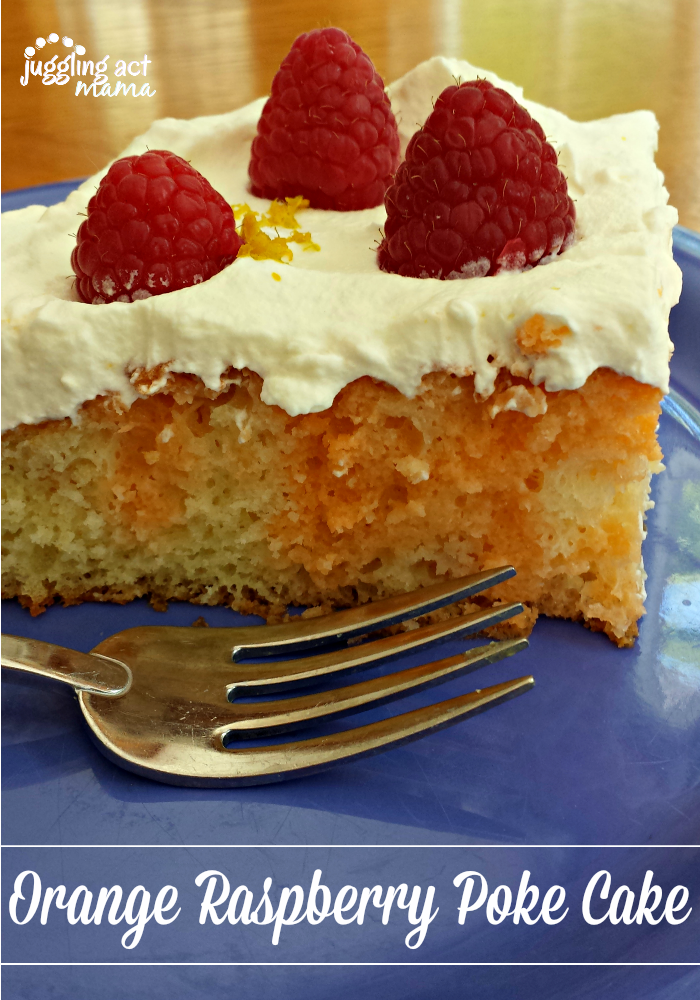 Orange Raspberry Poke Cake from Juggling Act Mama as seen on Say Not Sweet Anne