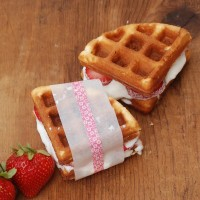 Make amazing strawberry shortcake waffle ice cream sandwiches by using boxed pound cake mix in your waffle maker!