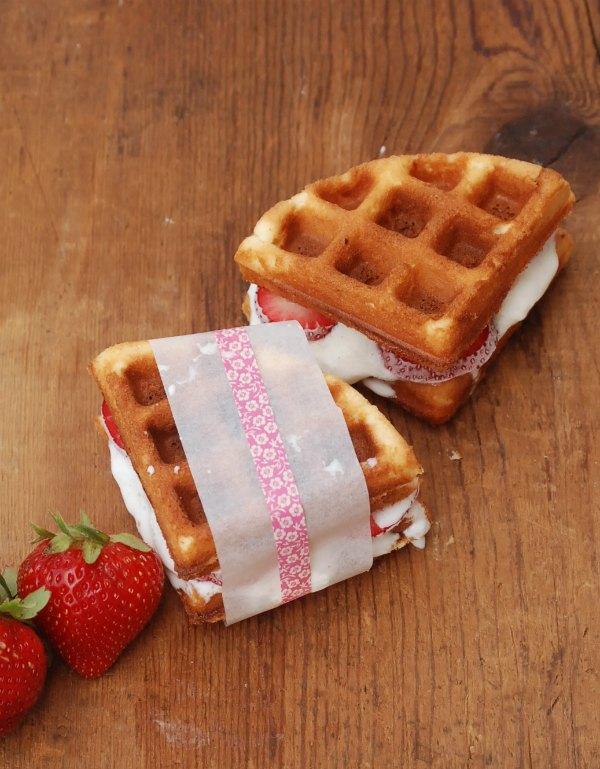 Make amazing strawberry shortcake waffle ice cream sandwiches by using boxed pound cake mix in your waffle maker!