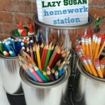 DIY Lazy Susan Homework Caddie Via HomeStoriesAtOz