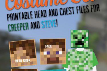 Easy Printable DIY Creeper and Steve costumes! | saynotsweetanne.com | #halloween #minecraft #costume