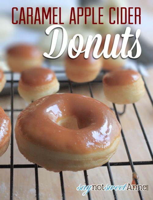 Caramel Apple Cider Donuts | Saynotsweetanne.com | #fall #apple #caramel #recipe