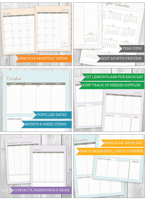 Printable 2015 Modular Planner. Download and print! Choose between several variations, including some with meal or lesson planning! Available in two sizes, 4 colors and with several add-ons to make your planner suit you! | saynotsweetanne.com | #etsy #planner #printable #organize