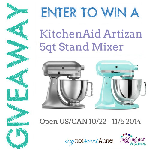 Enter to win a FREE KitchenAid Stand Mixer | saynotsweetanne.com | #giveaway #kitchenaid #mixer