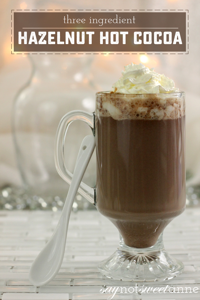 Easy, 3 Ingredient Hazelnut Hot Cocoa. Nutella flavored goodness in 2 minutes or less! | saynotsweetanne.com |