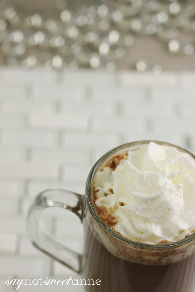 Easy, 3 Ingredient Hazelnut Hot Cocoa. Nutella flavored goodness in 2 minutes or less!   saynotsweetanne.com  