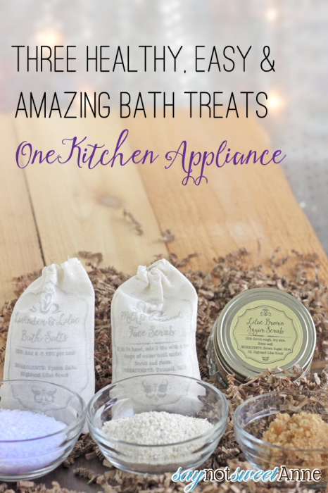 Three Easy Bath Treats in the Food processor! Three or less ingredients each. | saynotsweetanne.com