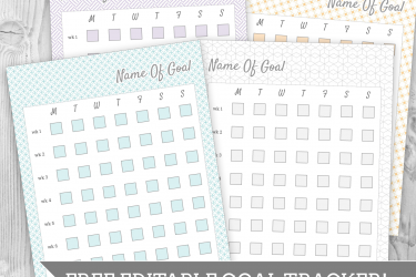 Free Editable Goal Tracking worksheet! Made to mate the 2015 Modular Printable planner - or use it alone. All text is editable in Google Doc format.   saynotsweetanne.com