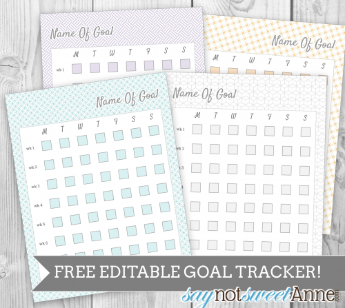 picture about Goal Tracker Printable titled Totally free Editable Printable Objective Tracker - Cute Anne Ideas