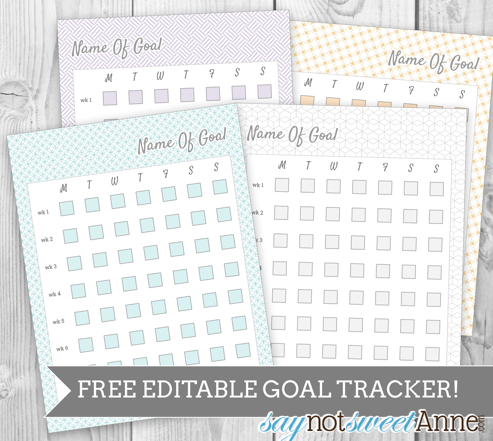 free editable printable goal tracker sweet anne designs