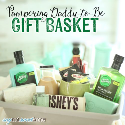 Pampering Daddy To Be Basket - a great gift for the soon-to-be-dad! | Saynotsweetanne.com